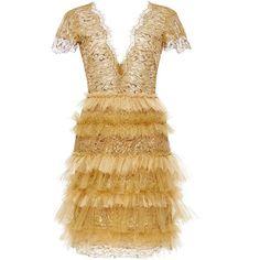 Marchesa Metallic Leopard Lace Ruffle Dress ($3,995) ❤ liked on Polyvore featuring dresses, short sleeve mini dress, sheath dress, brown dress, cocktail mini dress and lace dress