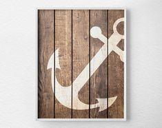 Nautical Anchor Art Print Anchor Decor by LotusLeafCreations