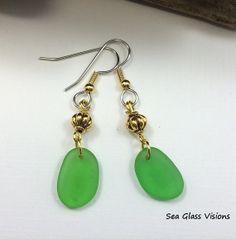 Brilliant Green California Sea Glass Dangle by SeaGlassVisions, $15.00