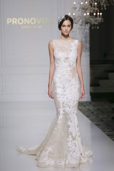 This embroidered wonder from Pronovias. | 17 Simply Stunning Sheer Wedding Dresses