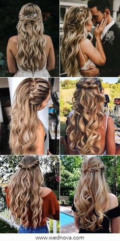 Beautiful wedding hairstyles for long hair hairstyle hairstyles bridalhairstyle weddinghairstyles halfuphalfdown weddinghairstylesupdo weddingupdo bridalupdo wedding weddings updo hairstyles wedding hairstyles wedding hairstyle for long hair Long Hair Wedding Styles, Wedding Hair Down, Wedding Hair And Makeup, Lace Wedding, Wedding Rings, Wedding Dresses, Bridal Hair Down, Bridesmaid Dresses Under 100, Hair Down For Prom