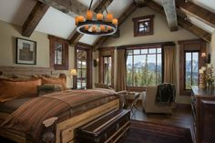 Master Bedroom, I love the drywall with wood accent!