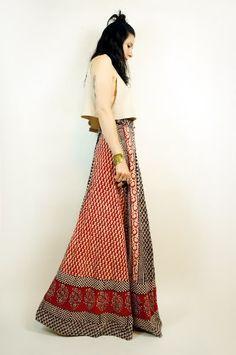 vintage indian wrap around long skirts 70s ebay | Vtg 70s Ethnic Cotton Batik India Boho Festival Maxi Wrap Skirt Dress ...