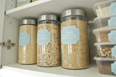 Love the containers (from the dollar store). Pantry makeover at TheSocialHome.