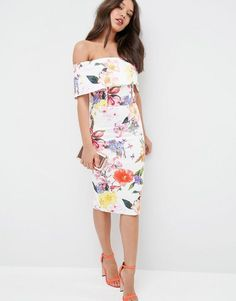 51a8eb064c7 ASOS Deep Fold Bardot Off The Shoulder Midi Pencil In Bright Tropical Floral  at asos.com