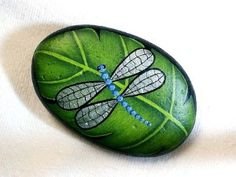 BLUE DRAGONFLY on LEAF, hand painted rock, garden...