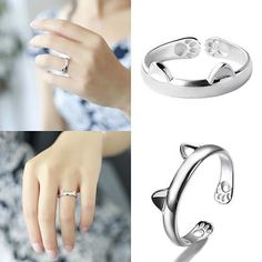 Featuring two little cat ears, this cute cat ring has the sweetest tiny paws printed on the inside of the band.