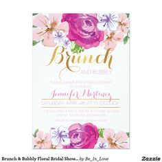 Shop Brunch & Bubbly Floral Bridal Shower Card created by Be_In_Love. Personalize it with photos & text or purchase as is! Foil Wedding Invitations, Watercolor Wedding Invitations, Wedding Invitation Design, Bridal Shower Invitations, Dinner Invitations, Pink Invitations, Bridal Shower Cards, Baby Shower Cards, Floral Wedding