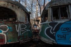 Touring the Abandoned Trolley Graveyard near Johnstown, Pennsylvania offers a chance to see the trolleys collected by the Vintage Electric Streetcar Company. Old Cemeteries, Graveyards, Johnstown Pennsylvania, 17th Century Art, Angel Statues, Buddhist Art, Luxor Egypt, Future City, Pompeii