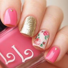 12 bold pink and glitter gold nails with an accent rose one - Styleoholic