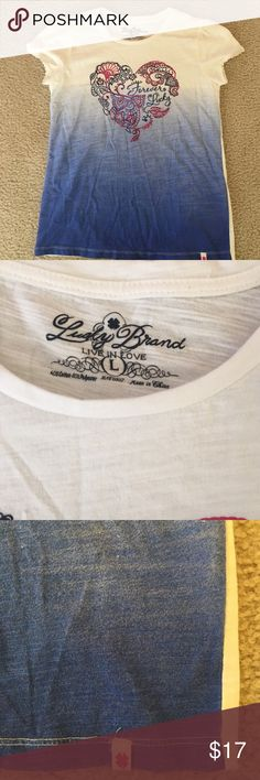 Lucky brand girls tee Girls tee with embellishments. Looks brand new Lucky Brand Shirts & Tops Tees - Short Sleeve