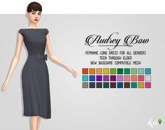 """deetron-sims:  """"  A simple, elegant below the knee dress with a bow at the waist inspired by the classic Audrey Hepburn. Comes in 30 swatches from the @pxelbox's extended Vibrancy palette and a few wildcards from @sjane4prezcc's and @javabeandreams'..."""