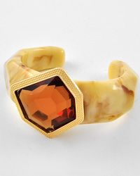 Gold Tone / Brown and Ivory / Cuff Bracelet - GORGEOUS!