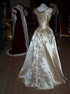 The Dress of a Maid of Honour, as worn by Lady Willoughby de Eresby at the Coronation of HM Queen Elizabeth II in 1953. Designed by Norman Hartnell.