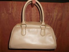 AK ANNE KLEIN Beige Leather Satchel Handbag