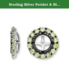 Sterling Silver Peridot & Black Sapphire Earring Jacket. Product Type:Jewelry Jewelry Type:Earrings Earring Type:Cluster Round Material: Primary:Sterling Silver Material: Primary - Color:White Material: Primary - Purity:925 Length of Item:13 mm Width of Item:13 mm Sold By Unit:Pair Completeness:Complete (all stones included) Stone Type_1:Peridot Stone Creation Method_1:Natural Stone Treatment_1:Not Enhanced Stone Shape_1:Round Stone Color_1:Green Stone Size_1:2 mm Stone Quantity_1:28…