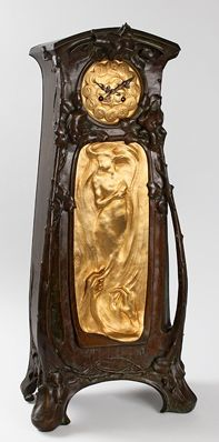 French Art Nouveau Bronze Clock