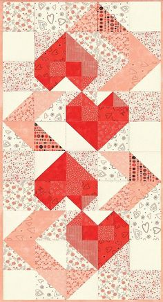 Good looking patchwork quilts Heart Quilt Pattern, Quilt Block Patterns, Quilt Blocks, Quilted Table Toppers, Quilted Table Runners, Half Square Triangle Quilts, Square Quilt, Small Quilts, Mini Quilts