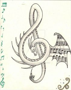 Dragon Treble Clef - My list of best tattoo models Music Drawings, Pencil Art Drawings, Art Drawings Sketches, Tattoo Drawings, Cool Drawings, Dragon Drawings, Tattoo Cat, Music Artwork, Music Tattoo Designs