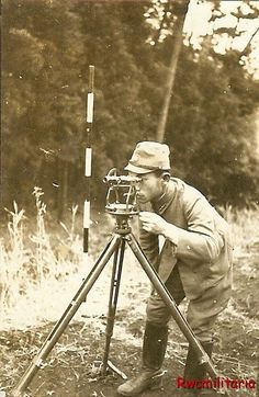 Japanese Second Lieutenant conducts surveying