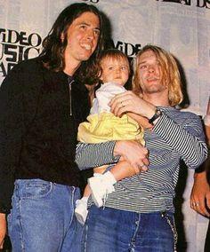 Dave Grohl , Kurt Cobain and Frances Bean Cobain
