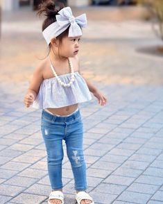 aff3390a45f Light Blue Striped Crop Top + Distressed Jeans 3pc Set Cheap Girls Clothes
