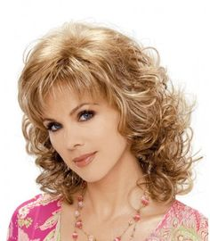 The JESSICA synthetic hair wig by Estetica Designs from Wilshire Wigs is a long curly wig with layered spiral curls that fall to the shoulders. Blonde Side Bangs, Curly Blonde, Cut My Hair, Hair Cuts, Medium Hair Styles, Curly Hair Styles, Human Lace Wigs, Wilshire Wigs, Volume Curls