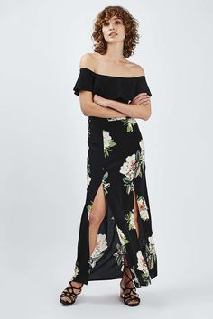 Floral Print Split Maxi Skirt - Topshop USA