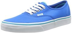 Vans Unisex Authentic Pop Neon Blue Skate Shoe 5 Men US  65 Women US *** To view further for this item, visit the image link.