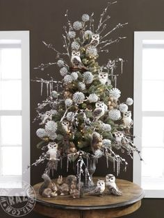 RAZ 2013 Fairy Forest  Tabletop Tree with owls and white frosted pinecones at trendytree.com