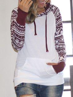 Chic Geometrical Long Sleeve Hooded Color Block Hoodie For Women