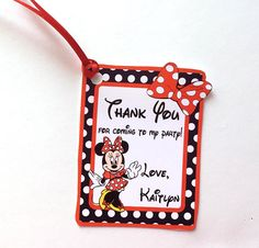 12 Minnie Thank You Party Favor Tags Set of 12 Minnie Mouse