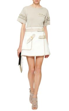 White Cotton Utility Wrap Skirt  by Derek Lam 10 Crosby Now Available on Moda Operandi