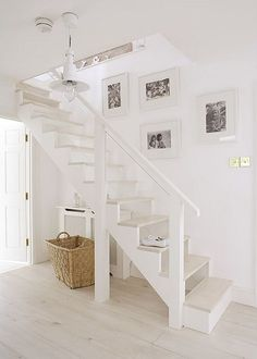 Summer Cottage Inspiration - Home Bunch - An Interior Design & Luxury Homes… White Floorboards, Open Stairs, White Stairs, Attic Stairs, White Walls, Stairs To Basement, Stairs Painted White, Garage Stairs, White Wooden Floor