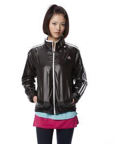 ADIDAS WOMEN'S APPAREL ブラック×ホワイトストライプウインドジャケット