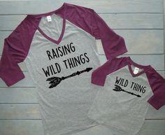 Mommy and Me Shirt Set, Raising Wild Things, Woodland Shirts, Wild Thing Birthday, Baby Shower Gift