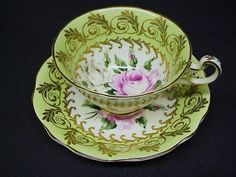 Teacup Set by Foley - Cup and Saucer -  Gold gilt  Shabby  Roses