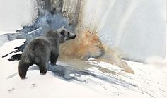 Grizzly Bear - Painting Art by Morten Solberg Art Aquarelle, Watercolor Painting Techniques, Watercolor Artists, Watercolor Artwork, Watercolor Animals, Watercolor Illustration, Painting Art, Hippo Drawing, Bear Sketch