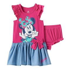Disney's Minnie Mouse Baby Girl Graphic Chambray Dress & Bloomer Set, Size: 18 Months, Pink