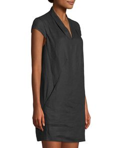 Shop Linen Cap-Sleeve Sheath Dress from Neiman Marcus at Neiman Marcus Last Call, where you'll save as much as on designer fashions. Linen Shirt Dress, Linen Dresses, Casual Dresses, Fashion Dresses, Chic Summer Outfits, Spring Summer Fashion, Sheath Dress, Dress Skirt, Trendy Tops For Women