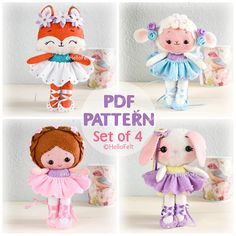 THIS LISTING IS FOR A DIGITAL ITEM / PDF PATTERN ONLY! **Pattern does not include finished dolls, supplies or fabric.** WE DO NOT ISSUE REFUNDS ON MY DIGITAL PATTERNS! READ CAREFULLY BEFORE PURCHASE! These set of 4 PDF sewing patterns are to make Foxy Ballerina, Sakura Ballerina, Snowbell