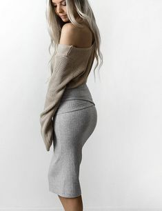 Women's Soft Gray Pencil Skirt  | Stylish outfit ideas for women who follow fashion.