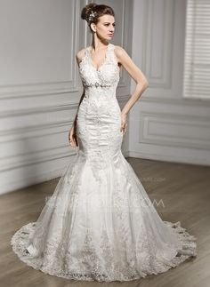 Trumpet/Mermaid V-neck Chapel Train Lace Wedding Dress With Beading Sequins (002056601) - JJsHouse