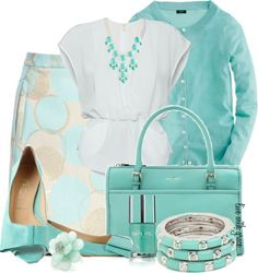 Verano en azul. #outfits #nightdresses #handbags #shoes #accessories #moda #fashion #styles #skyblue #clothes