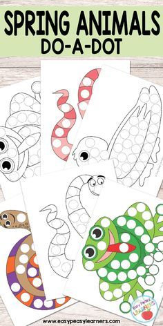 Free Spring Animals do a dot printables - frog, duck, worm and snail