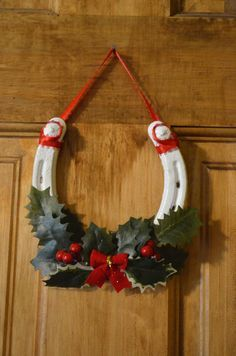 Christmas Horseshoe Wreath by CheckOutMyHooves on Etsy