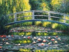 Claude Monet, the water lily pond, Claude Monnet's Garden Water Lilies Painting, Monet Water Lilies, Lily Painting, Paris Painting, Famous Artists Paintings, Monet Paintings, Landscape Paintings, Impressionist Paintings, Beautiful Paintings
