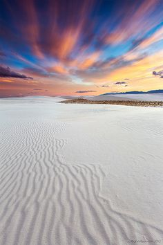 sunset at the White Sands National Monument near Alamogordo, New Mexico.