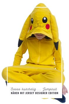 Pikachu Jumpsuit – Overall Designer Edition Pikachu Pikachu, Pokemon, Overalls, Design, Fictional Characters, Princess Outfits, Sew Mama Sew, Sewing Patterns, Handarbeit