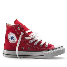 Stoere rood kleurige gympen van Converse. Deze all stars hebben een rubberen zool en een vetersluiting.